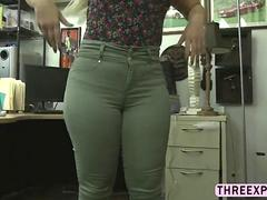 Big ass sexy blonde Nina Kay grinds butt in the shop and gets fucked
