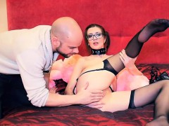 Sexy slim girl in black stockings helps sex coach