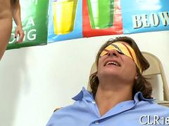 Blindfolded college guys have fun with big tits porn stars