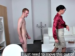Young guy fucks busty mature agent