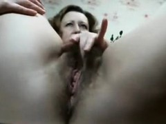 Rubs Hairy Pussy