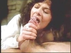 Vintage retro aged lady face cumshot fellation with sperm tasting