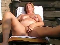 Old with saggy boobs jacking off and toying