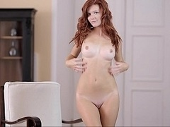 Perfectly shaped redhead babe Mia. Good breasts