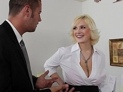 In the office with bigtitted blondie