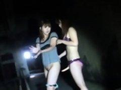Asian lesbo strapon fucks