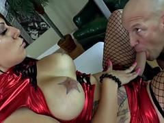 Busty dom enjoys punishing her bf