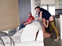 carter cruise is fucked from behind the sofa while watching football dad