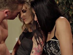 rough threesome sex for two smoking hot babes