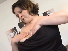 Fat chick with huge boobs riding big dildo