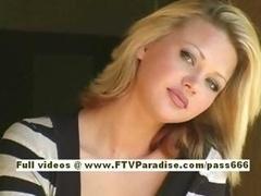 Svetlana glamorous blonde chick drinks cofee