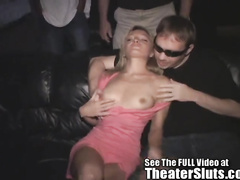Small damsel group orgy in a porn theater
