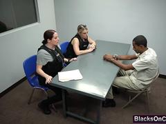 Dirty Female Cops Maggie Green And Joslyn Capture Pimp And Fuck Him In Threesome