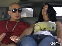 Dark haired Latina teen fucked mercilessly in bang bus doggy