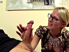 german mistress in satin blouse lets him suffer