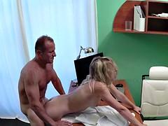 Petite blonde bangs fake doctor