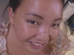 Chubby Asian amateur housewife gives a hot blowjobs