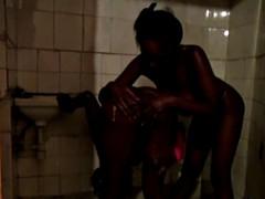 デカパイ, 黒人, 黒人, レズビアン, シャワー