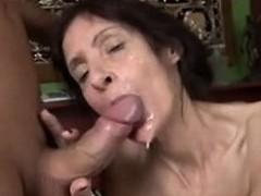 Slim mature loves cum -