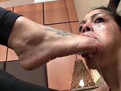 Brutal lesbian foot gagging 2