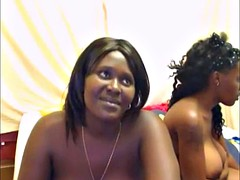 Two hot ebony girls with big tits camming