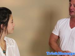 Massaged beauty tricked by her masseur