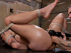 submissive asian gal milcah halili gets tied up and fisted by her master