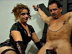 naughty well-hung stallion is dominated by two hot brune