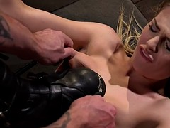 Petite blonde banged and whipped in hogtied