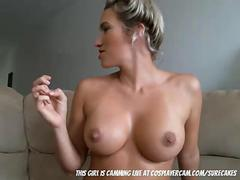 Stunning MILF fucking herself with huge dildo