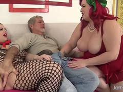 Two Tons of Fun Cum Down Hard on a Lucky Dudes Cock