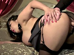 Chubby Asian Tigerr Benson with big curvy boobs has hot sex with young European guy