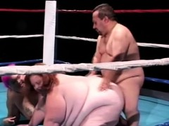 Heavy Chicks Give This Midget A Blowjob