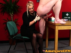Fullyclothed CFNM amateur rimming lucky guy