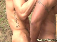 Hunk gives rimjob outdoors