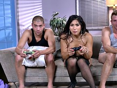 perfect gamer girl mia li plays xbox after getting sandwiched