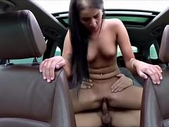 Naughty Euro babe grabs huge cock and sucks it deepthroat