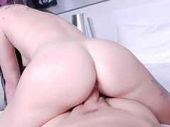 POV video with brunette chick that swallows beau's cum after fucking
