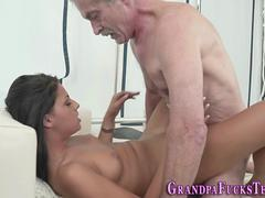 Dark haired chick having a good time giving a blowjob and getting screwed by this hunk with a massive cock in multiple poses