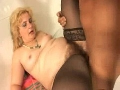 Rotund Unshaved Tiny Titted Granny in Stockings and furthermore a Penis