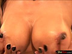 Busty Latina tranny tickles her nipples and exposes big butt