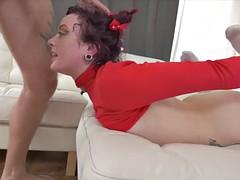 redhead pornstar deepthroating and fucking