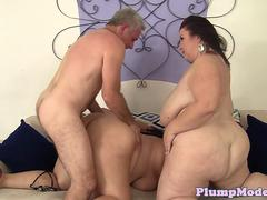 Threesome loving BBW babes pleasing cock