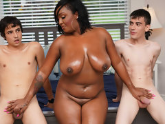 Ebony Mom Having Fun With Stepson and His Friend - threesome