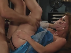 Bald dude is fucking his hot blonde co-worker in the office