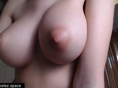 Big beautiful natural tits and puffy nipples close up - homemade POV