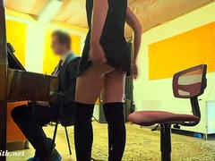 Naughty Teacher with no panties prank with a real student. By Jeny Smith