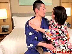 Asian newhalf ravages masculine after getting screwed