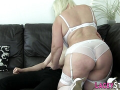 Busty grandma sucking and riding - Big tits