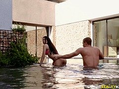 Brunette beauty fucked by the pool and made to swallow - Outdoor Porn